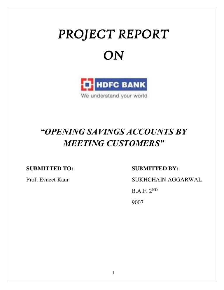 project report on opening saving account in hdfc bank