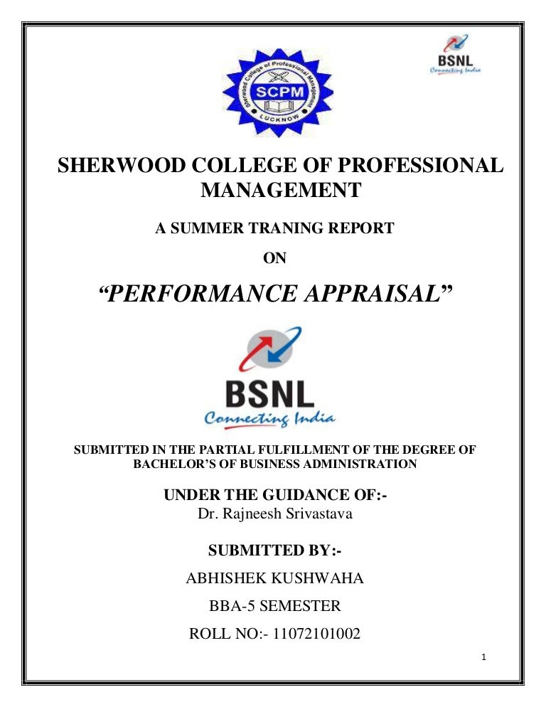 Project report on performance appraisal of bsnl yadclub Image collections