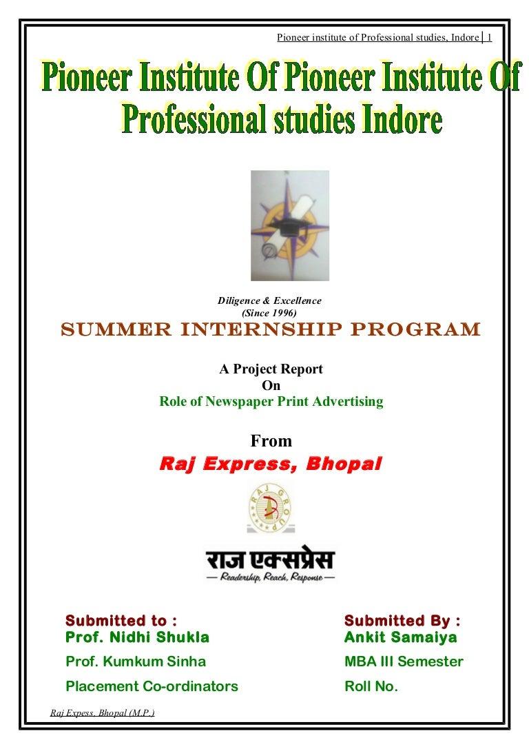 project report on raj express newspaper