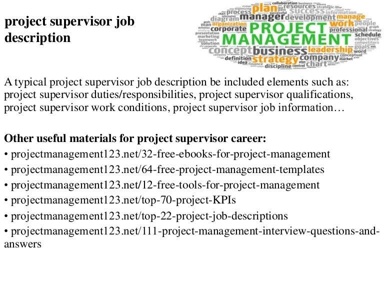 Project supervisor job description