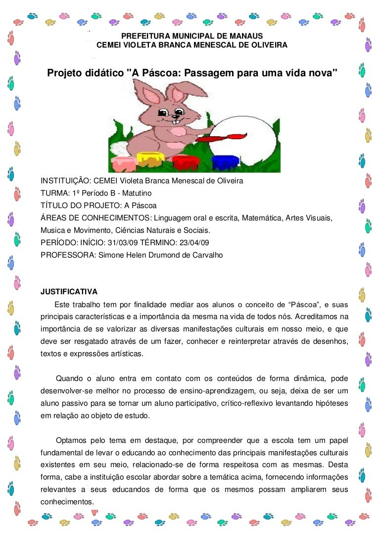 Projeto Páscoa Cmei2009 S Imone Drumond