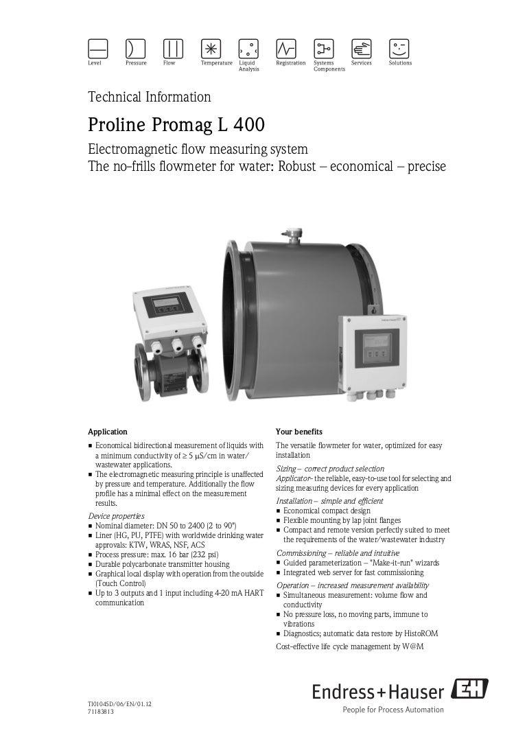 Proline Promag L 400-Electromagnetic Flowmeter