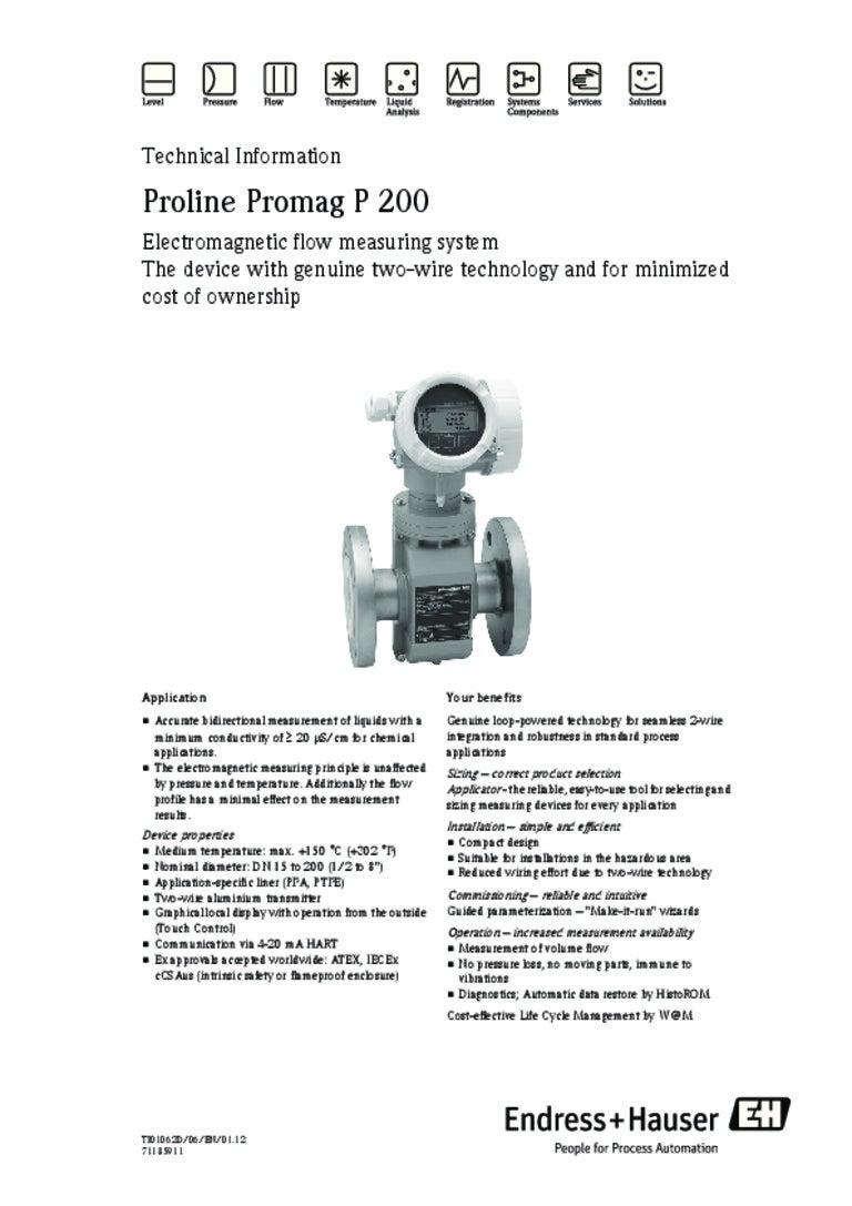 Proline Promag P200 Electromagnetic Flowmeter Wiring Diagram