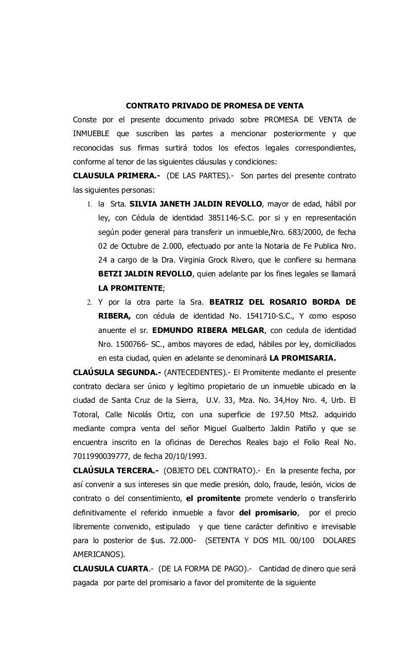 Promesa de venta de silvia jaldin - Cambio de pisos entre particulares ...