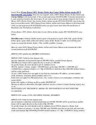 Promo Bonus 100% Sbobet, Ibcbet dan Casino Online dalam rangka HUT BAVETLINE yang kedua