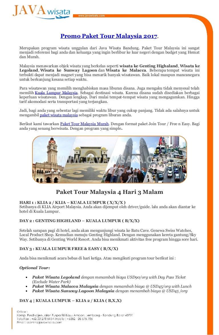 Promo Paket Tour Malaysia 4 Hari 3 Malam Et Ticket Sunway Lagoon Dewasa Kuala Lumpur