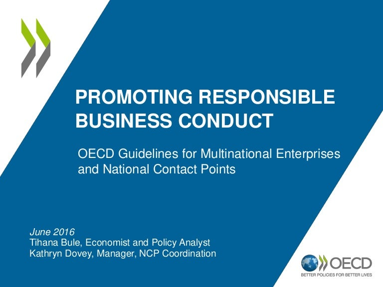 Promoting Responsible Business Conduct The Oecd Guidelines For Multi