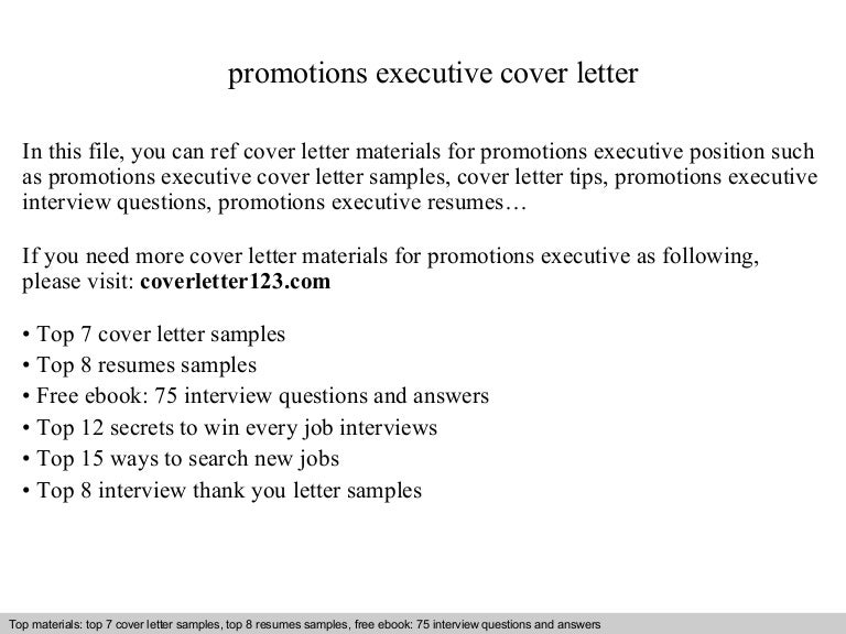 Promotions executive cover letter