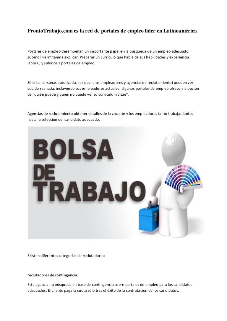 Pronto trabajo.com es la red de portales de empleo líder en latinoamé…