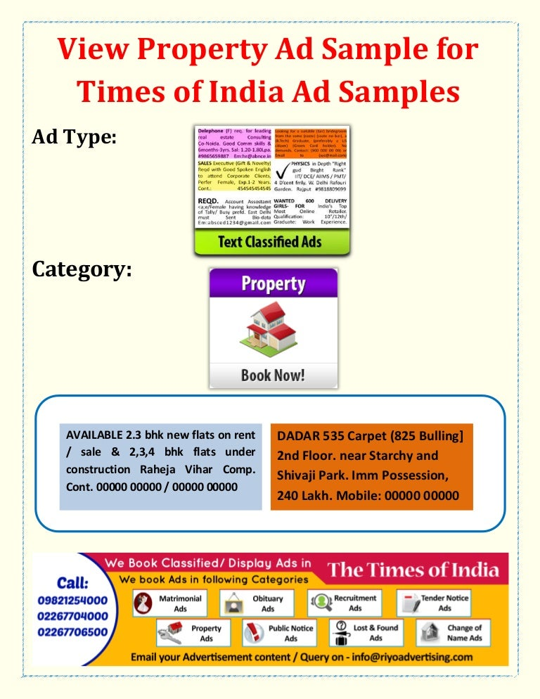 Times Of India Property Book Property Buy Sale Purchase Lease Rent