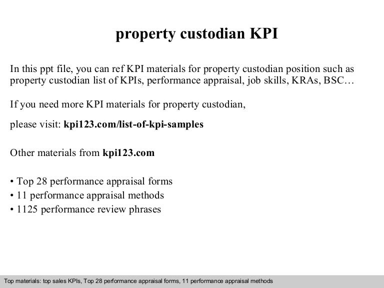 Property Custodian Kpi