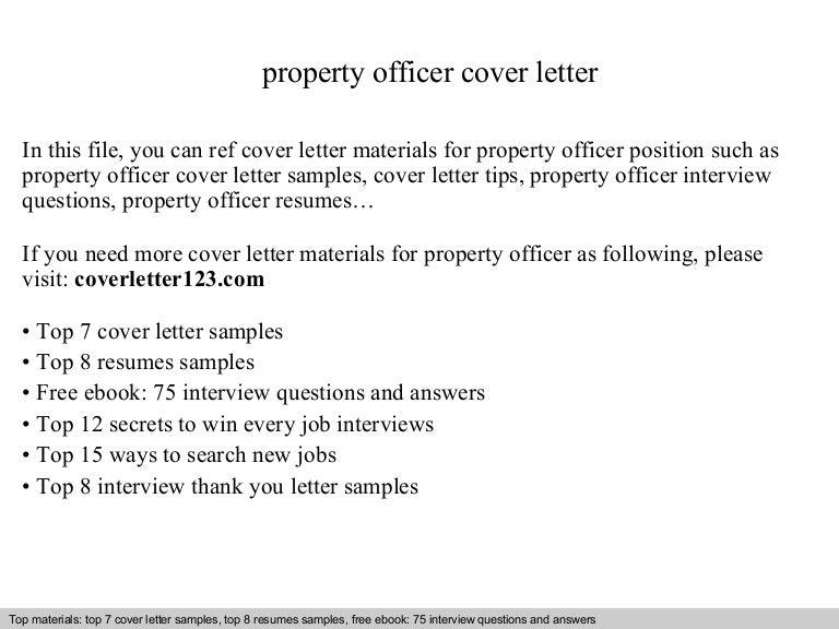 Property officer cover letter