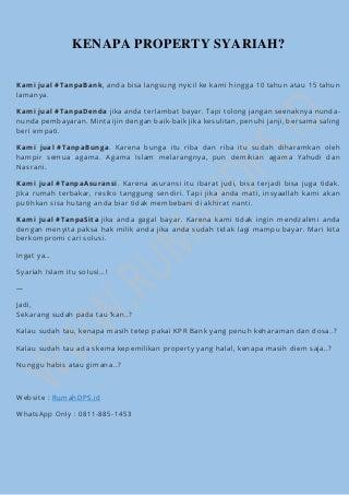 Jual Property Syariah, Rumah Syariah, Ruko Syariah Tanpa KPR Bank