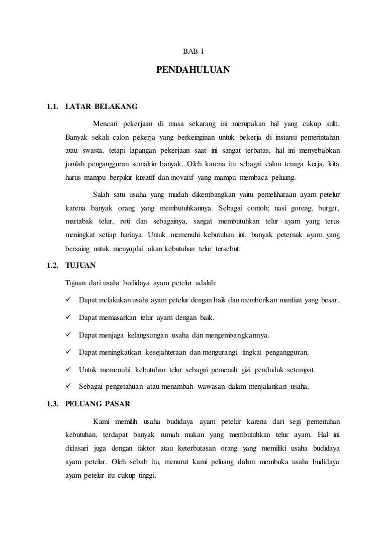 Contoh Proposal Usaha Budidaya Ayam Petelur Kewirausahaan