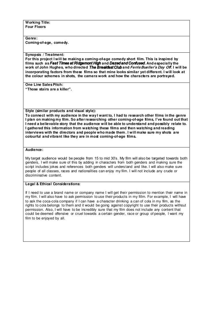 Short Film Proposal Document – Film Proposal Template