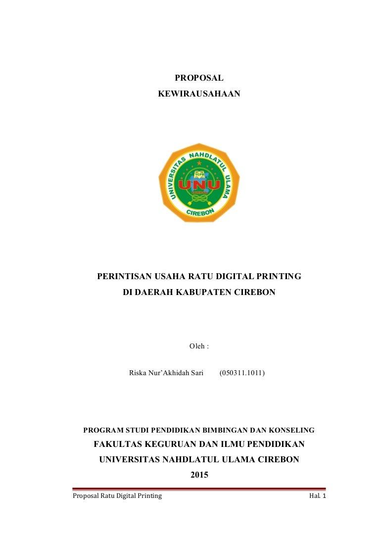 Proposal Perintisan Usaha Ratu Digital Printing