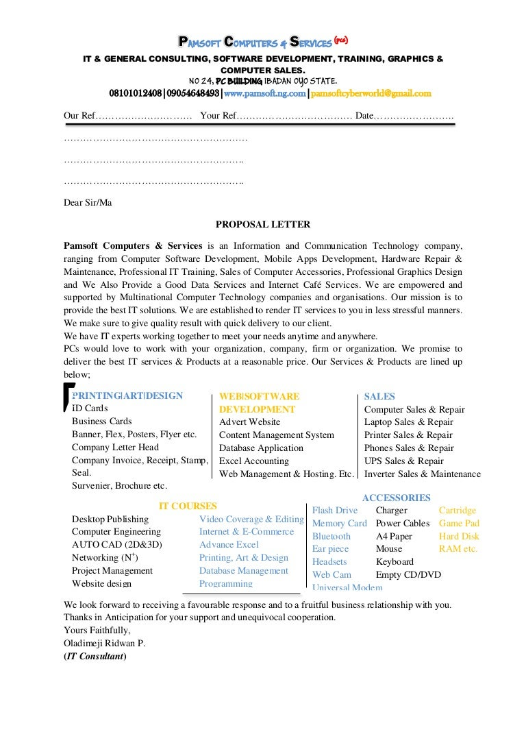 Proposal letter(pamsoft computers)