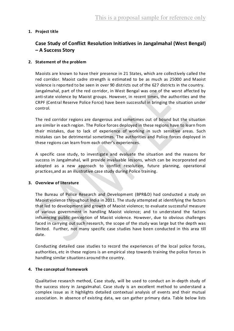 Proposal writing sample 2 – Sample Police Statement