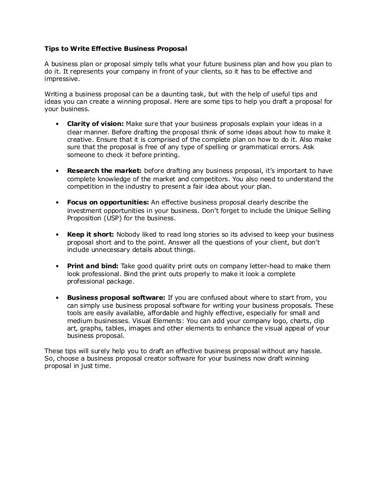 Tips To Write Effective Business Proposal