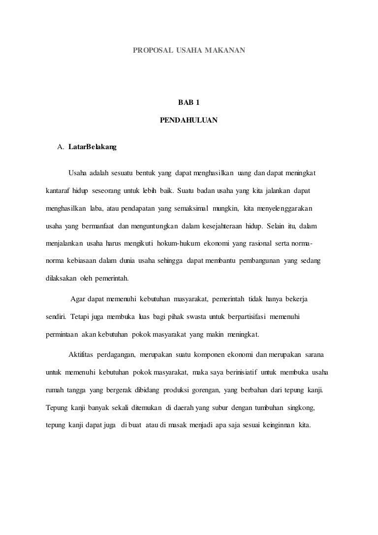 proposal perdagangan makanan
