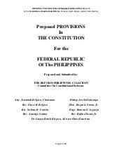 Proposed In  THE CONSTITUTION  For the  FEDERAL REPUBLIC Of The PHILIPPINES