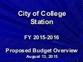 Overview of Proposed FY16 Budget