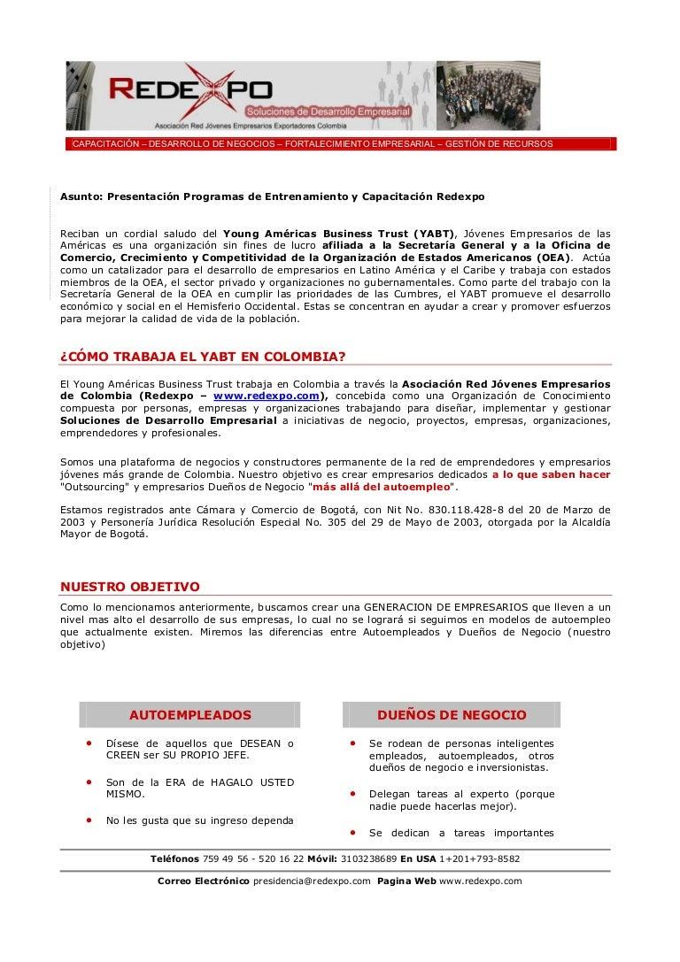 Propuesta servicios capacitaci n redexpo for Propuesta para una cantina escolar