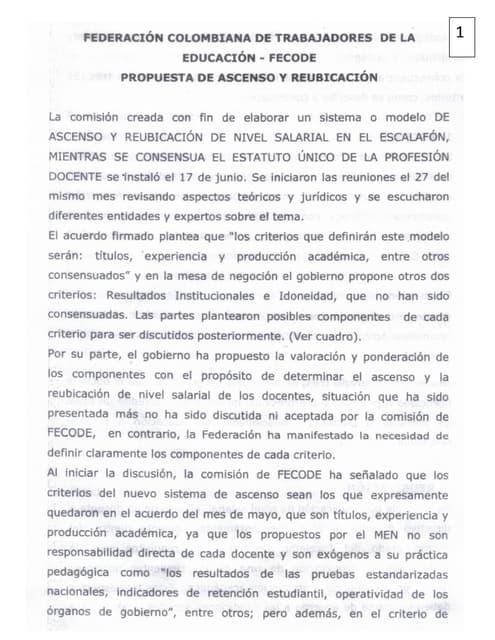 Propuesta ascenso docente full 1278   fecode- 10 sept 2014