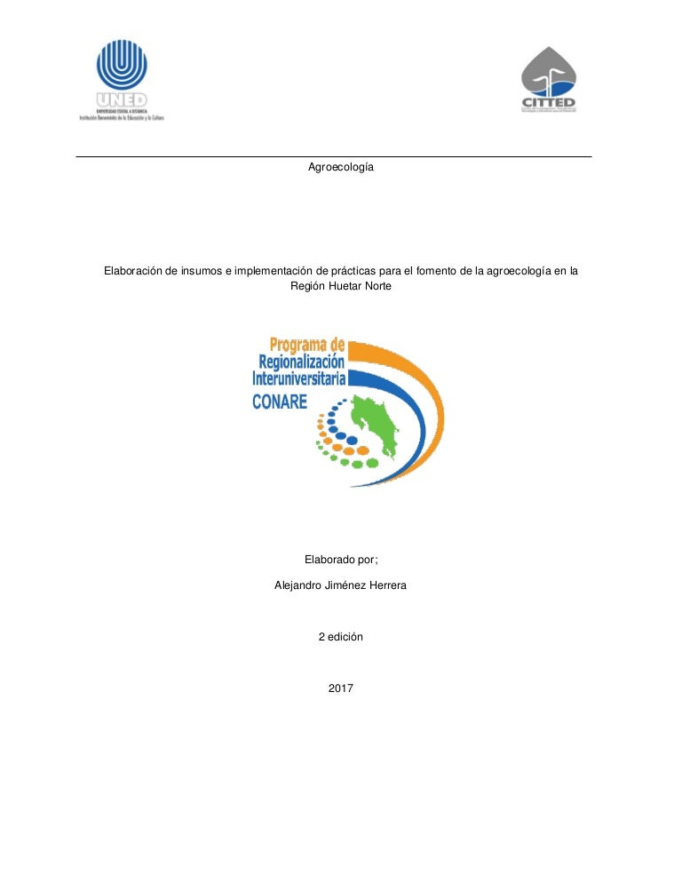 Propuesta de guía para elaboración de insumos orgánicos 2017
