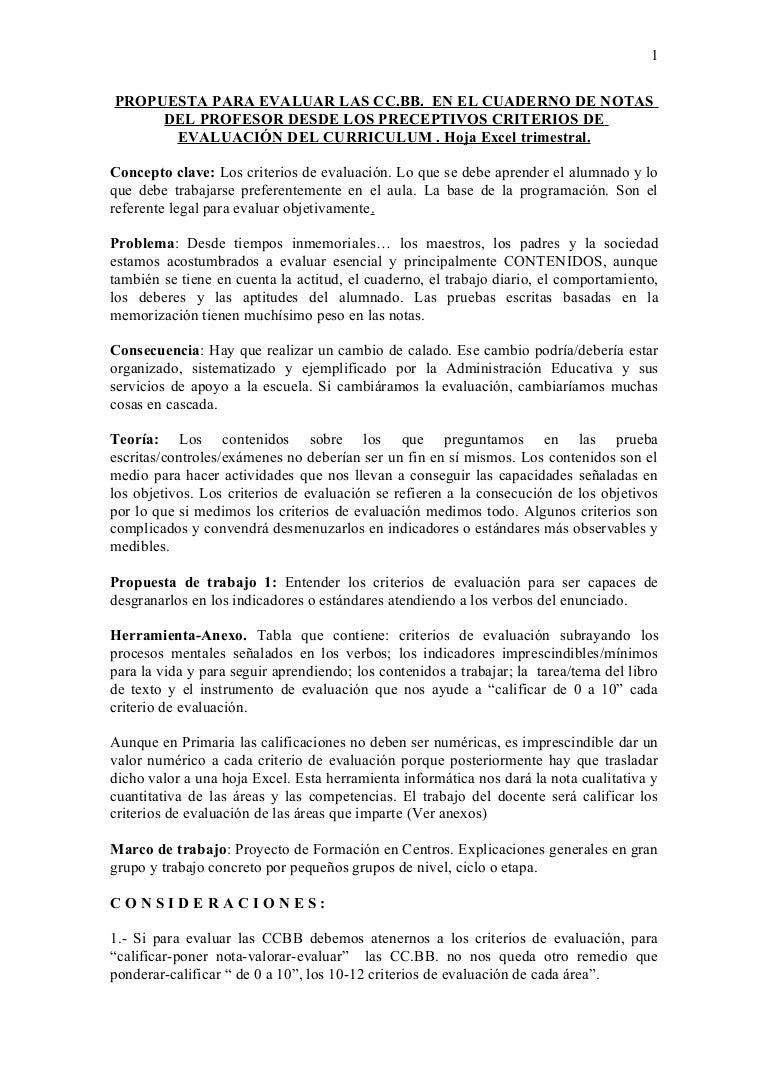 Propuesta para evaluar las cc