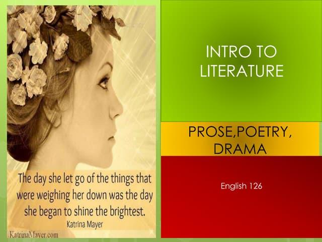 Prosepoetrydrama English 126 Week 1 Lecture
