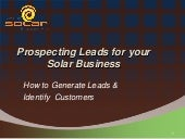 Prospecting leads for your solar business