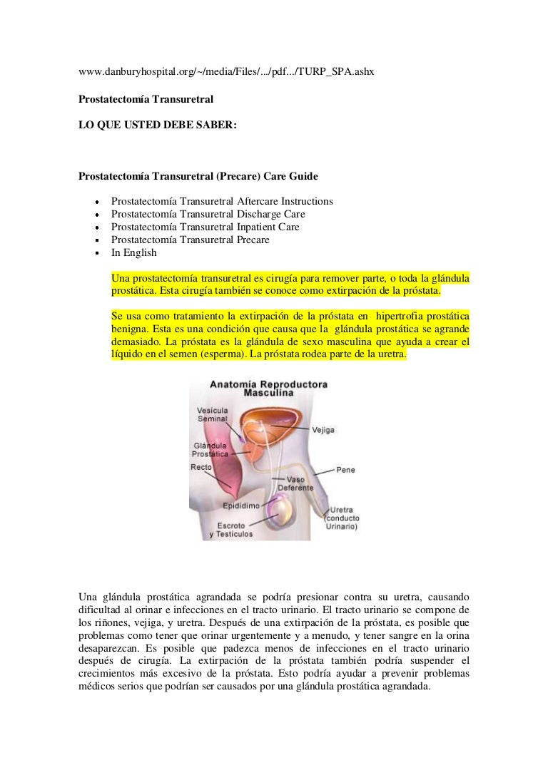 trastornos de próstata postoperatorios
