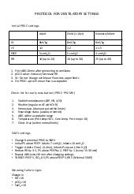Protocol for ventilator settings