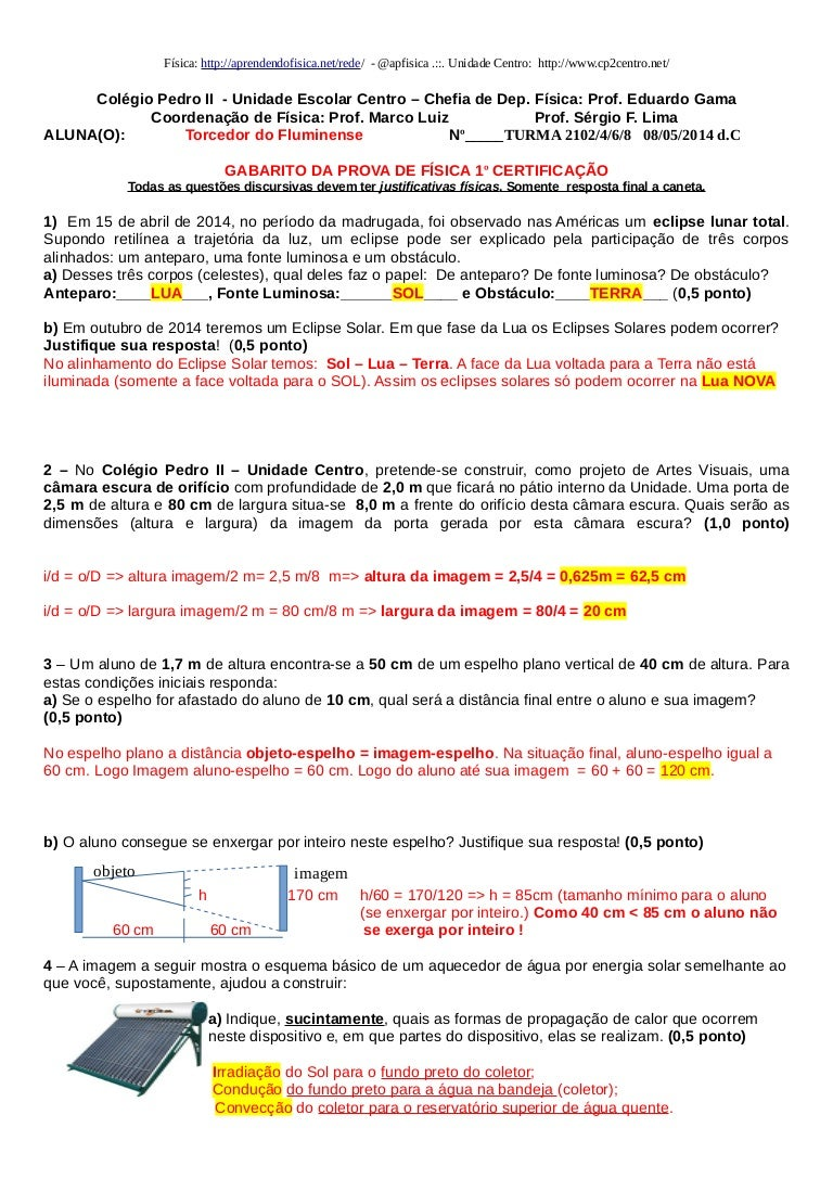 Gabarito Prova Física 1 ano Ensino Médio Colégio Pedro II