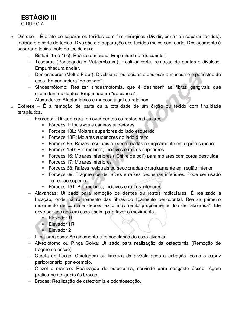 b339dbac10b RESUMÃO DE CIRURGIA NA ODONTOLOGIA