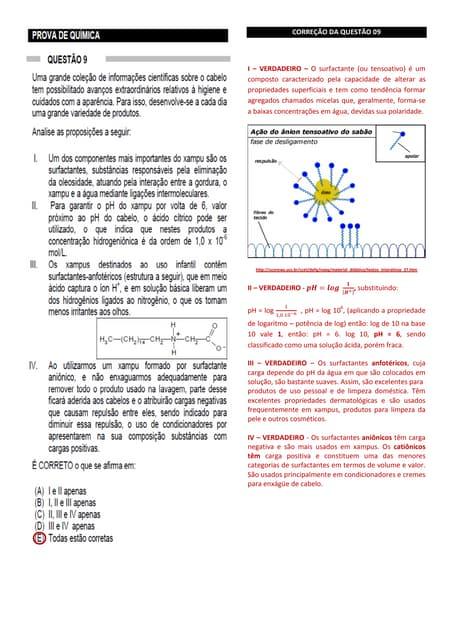 Prova do vestibular de química da uft comentada do dia 13 11-11