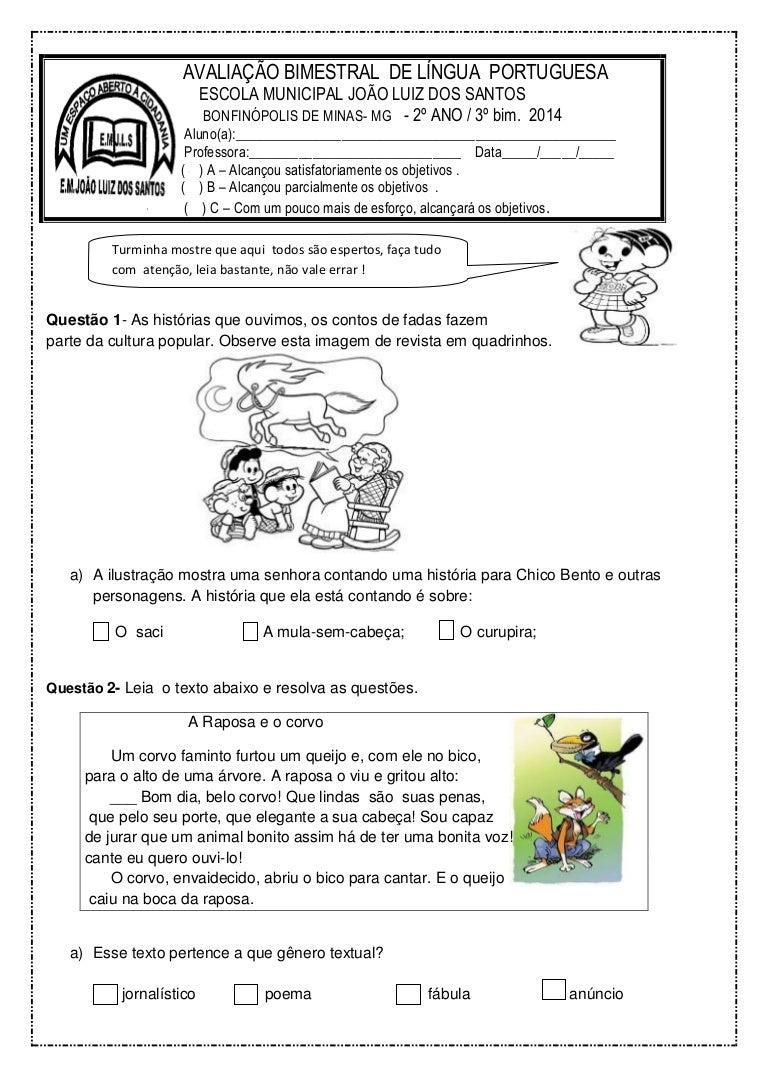 Prova Portugues Para O 2º Ano