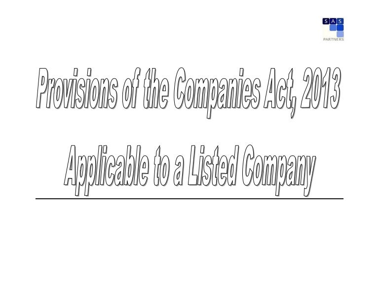 Action Points For Listed Companies Under Companies Act 2013