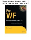 Pro wf windows workflow in net 3.5 (expert's voice in .net) 1st ed. edition pdf ebook full free
