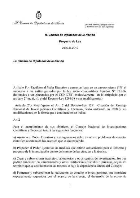 Proy de ley tema recursos naturales ref. ley financ. conicet (1)