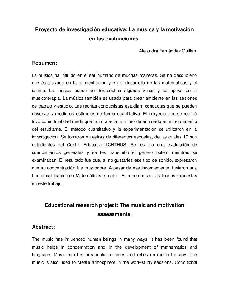 Proyecto de investigación educativa; la música y la motivación en las…