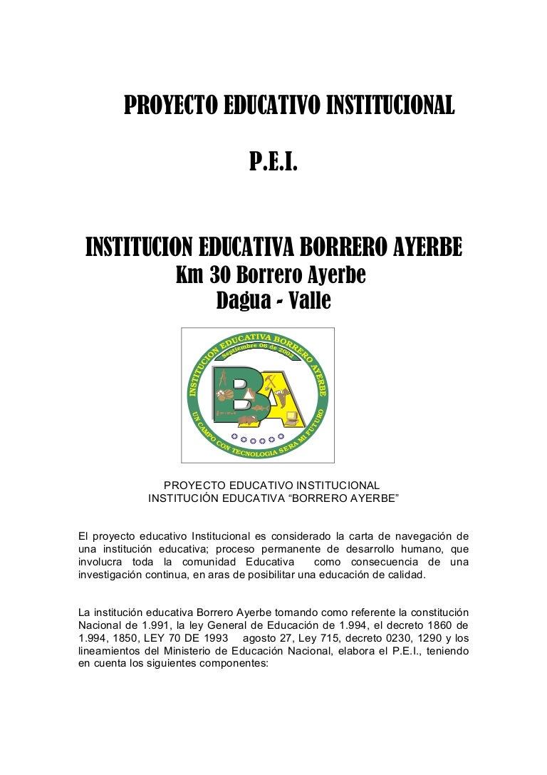 Proyecto Educativo Institucional I E Borrero Ayerbe