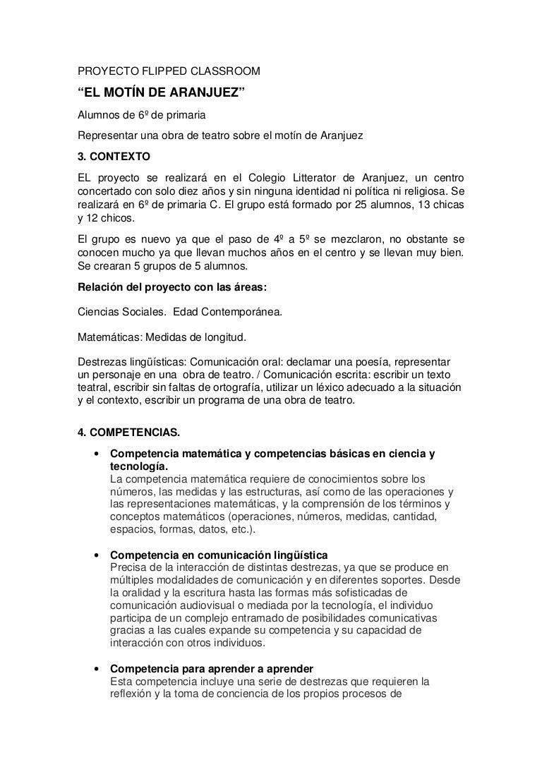 Flipped Classroom El Motin De Aranjuez