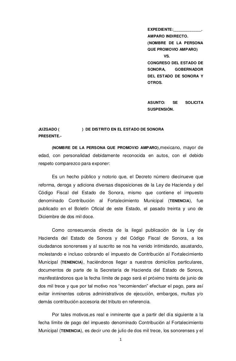 FORMATO DE SUSPENSIN PROVISIONAL CONTRA EL PAGO DEL COMUN