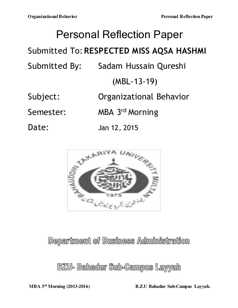 Essay Reflection Paper Examples  Interesting Essay Topics For High School Students also Argumentative Essay Examples High School Personal Reflection Paper On Organizational Behavior The Yellow Wallpaper Essays