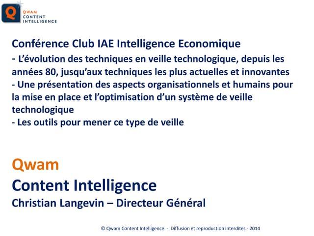 Présentation de Christian Langevin au Club IES_Veille Technologique