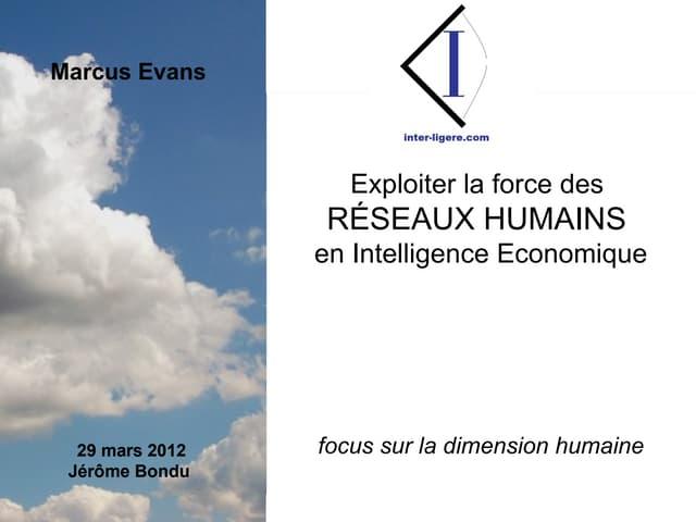 """Présentation sur la dimension """"humaine""""  des activités de veille et intelligence économique"""