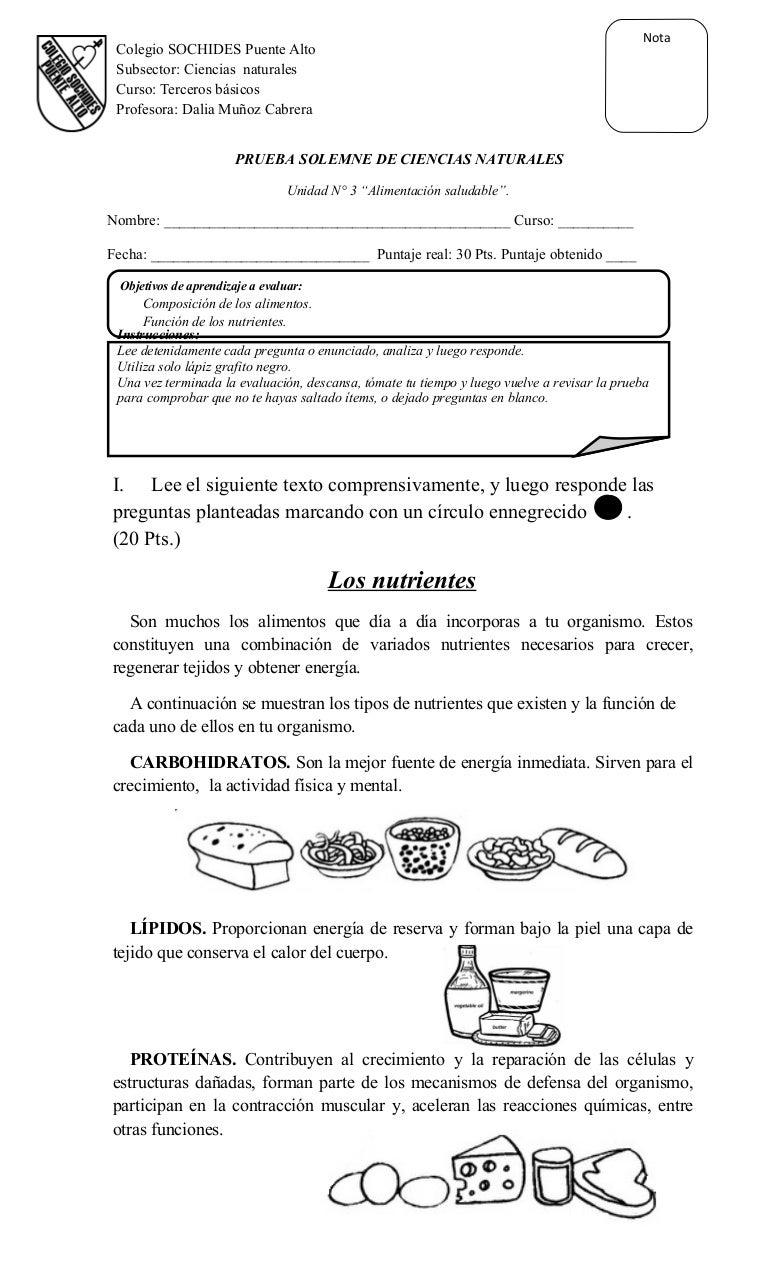 Prueba unidad n° 3 alimentación saludable 3º básico
