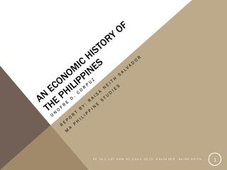 PS 202: An Economic History Of The Philippines